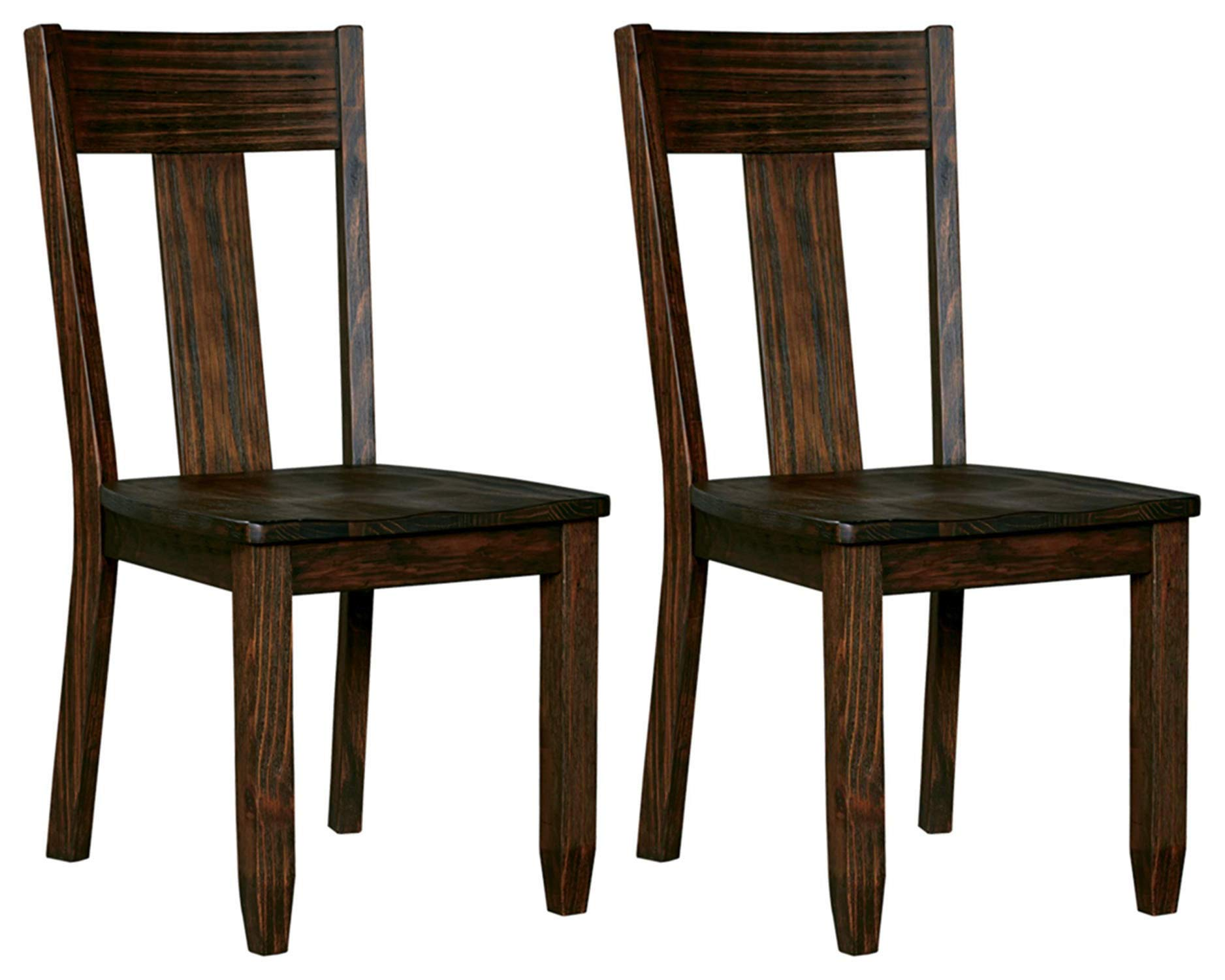 Ashley Furniture Signature Design - Trudell Dining Room Chair - 100% Pine Wood -  Set of 2 - Dark Brown by Signature Design by Ashley