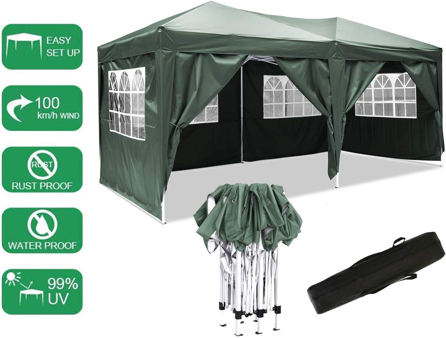Carpa con Paredes 3x6 m | Plegable, Impermeable, con Protección Solar, Ideal para Fiestas en el Jardín | Gazebo, Cenador, Pabellón, Tienda Fiestas | persona 10-12 (Typ_6): Amazon.es: Jardín