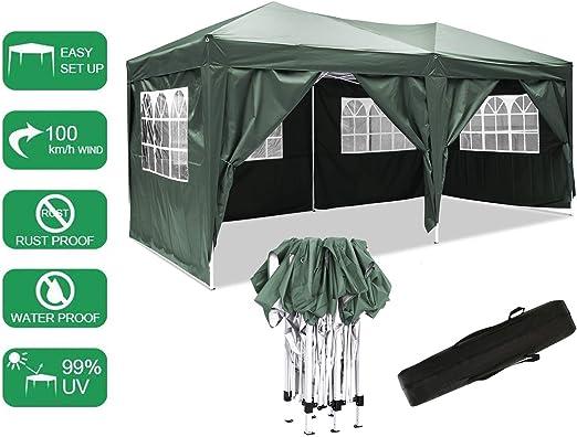 Bunao Carpa con Paredes 3x6 m | Plegable, Impermeable, con Protección Solar, Ideal para Fiestas en el Jardín | Gazebo, Cenador, Pabellón, Tienda Fiestas | Persona 10-12 (Typ_3): Amazon.es: Jardín