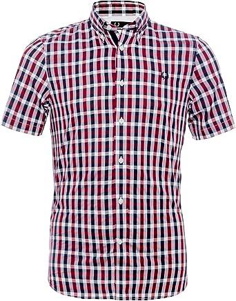 Fred Perry Herringbone Camisa de Cuadros para Hombre - Rojo - X ...