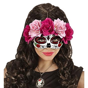 Amakando Careta La Catrina con Rosas Máscara Sugar Skull Rosa y Rojo Máscara Mexicana de Muertos Cubre Rostro de Muertos Mascarilla Halloween Antifaz Día de ...