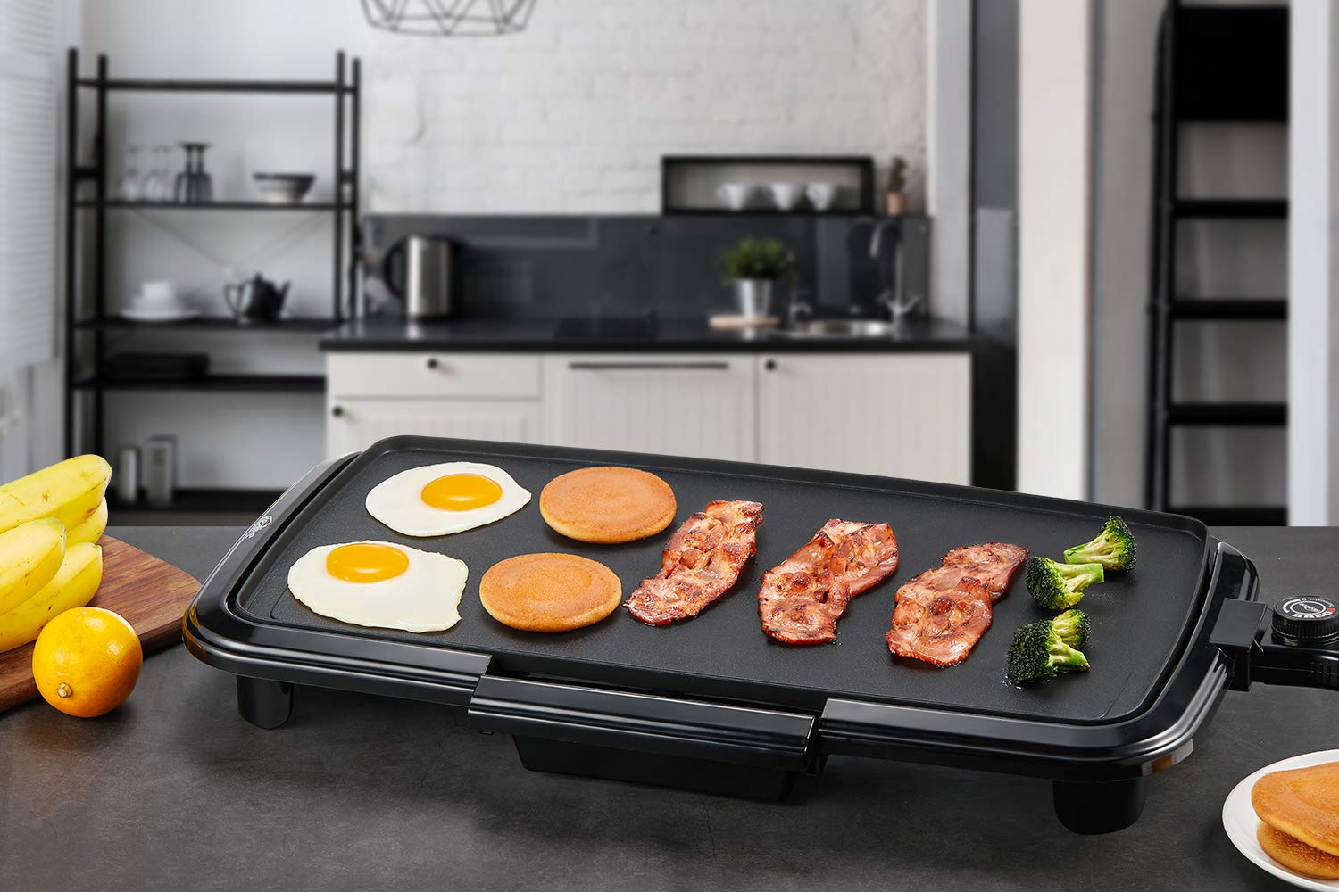 Kealive Griddle, Family-Sized Electric Grill Griddle 1500W with Drip Tray, Non-stick, 10''x20'', Black by Kealive (Image #7)