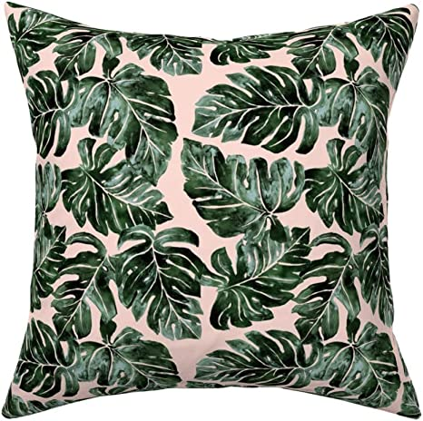 Amazon Com Roostery Throw Pillow Tropical Leaves Paradise Vacay Monstera Jungle Blush Dark Green Philodendron Small Scale Print Linen Cotton Canvas Knife Edge Accent Pillow 18in X 18in With Insert Home Kitchen