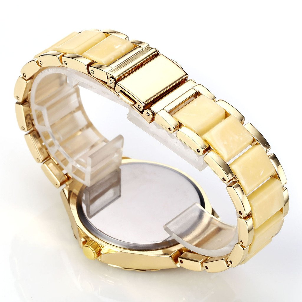 Top Plaza Women Elegant Luxury Milk Gold Tone Aanlog Watch Rhinesstone Crystals Accented Case Roman Numerals Metal Bracelet Quartz Watch With Decorative Chronograph