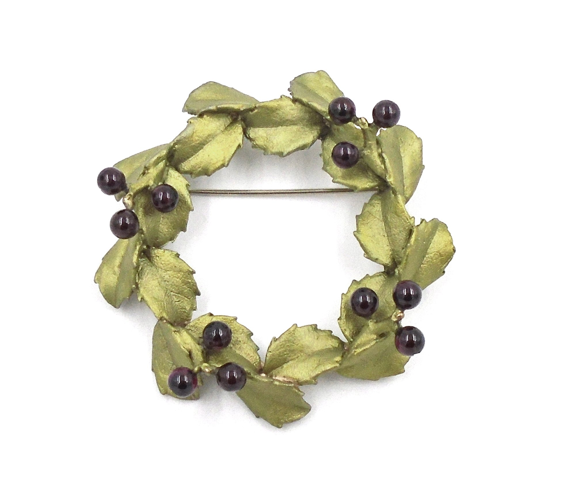 Holiday ''Holly Wreath'' Pin/brooch By Michael Michaud for Silver Seasons