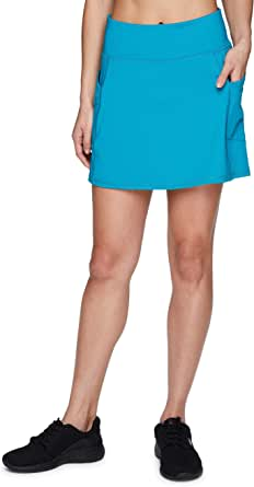 RBX Active Women's Fashion Stretch Knit Flat Front Golf/Tennis Athletic Skort with Attached Bike Short and Pockets