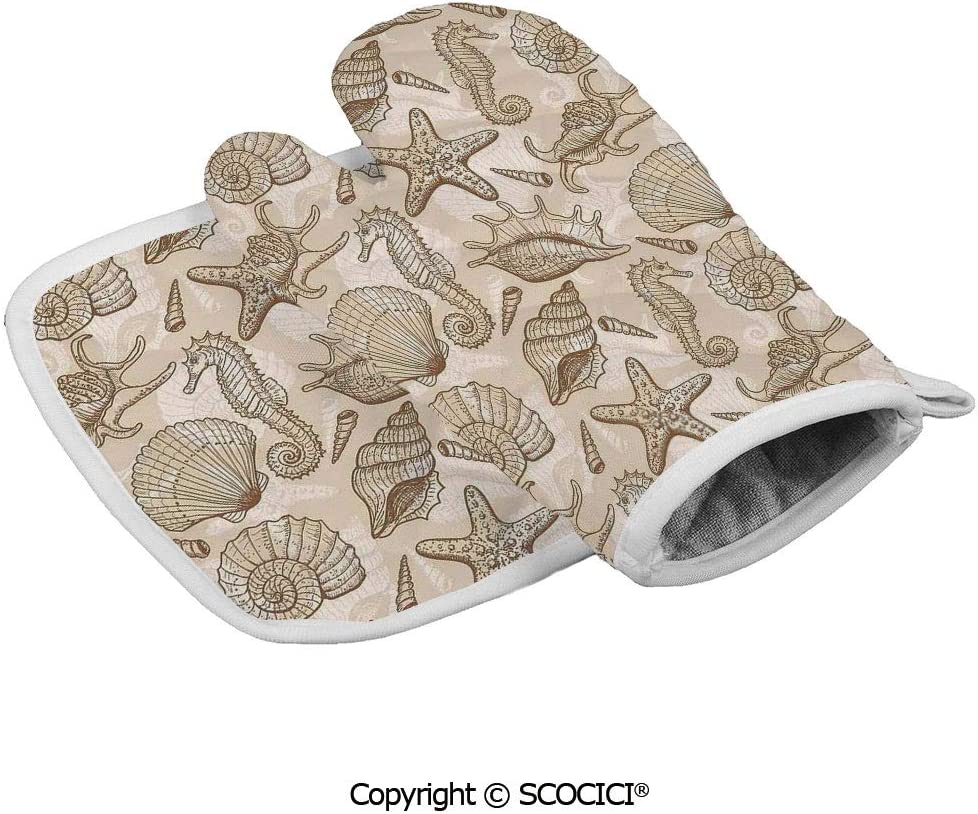 SCOCICI Baking Anti-Hot Glove Exotic Marine Animals in Retro Style Ilustration Shells Starfish Seahorse Oven Microwave Mitts Pot with Square Mat