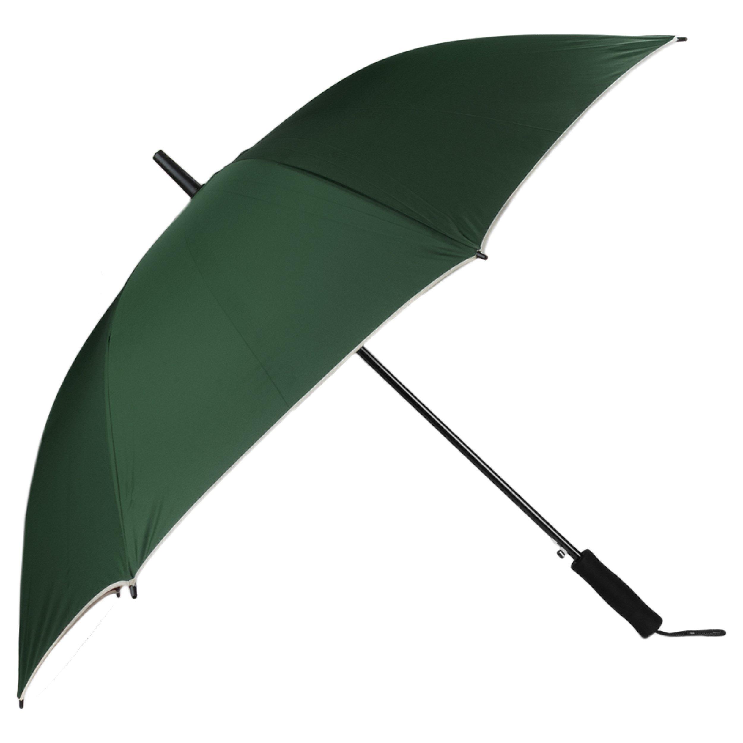 Aerusi Polyester Beige Trim Automatic 8 Framed Travel Long Umbrella, Green