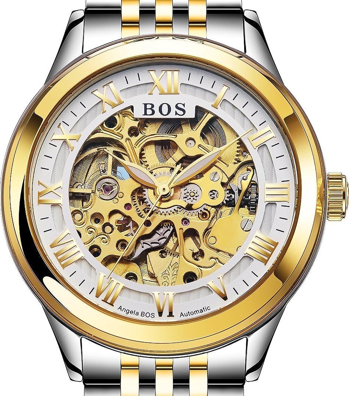 Angela Bos Automatische Skelett-Armbanduhr fÜr Herren - selbstaufziehend - Weiß - Armband aus Edelstahl