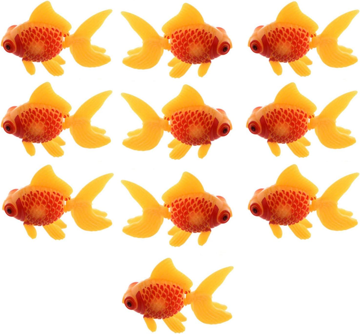 XMHF Aquarium Fish Bowl Tank Artificial Floating Plastic Yellow Red Decor Goldfish Ornament Fish Tank Decoration 10PCS