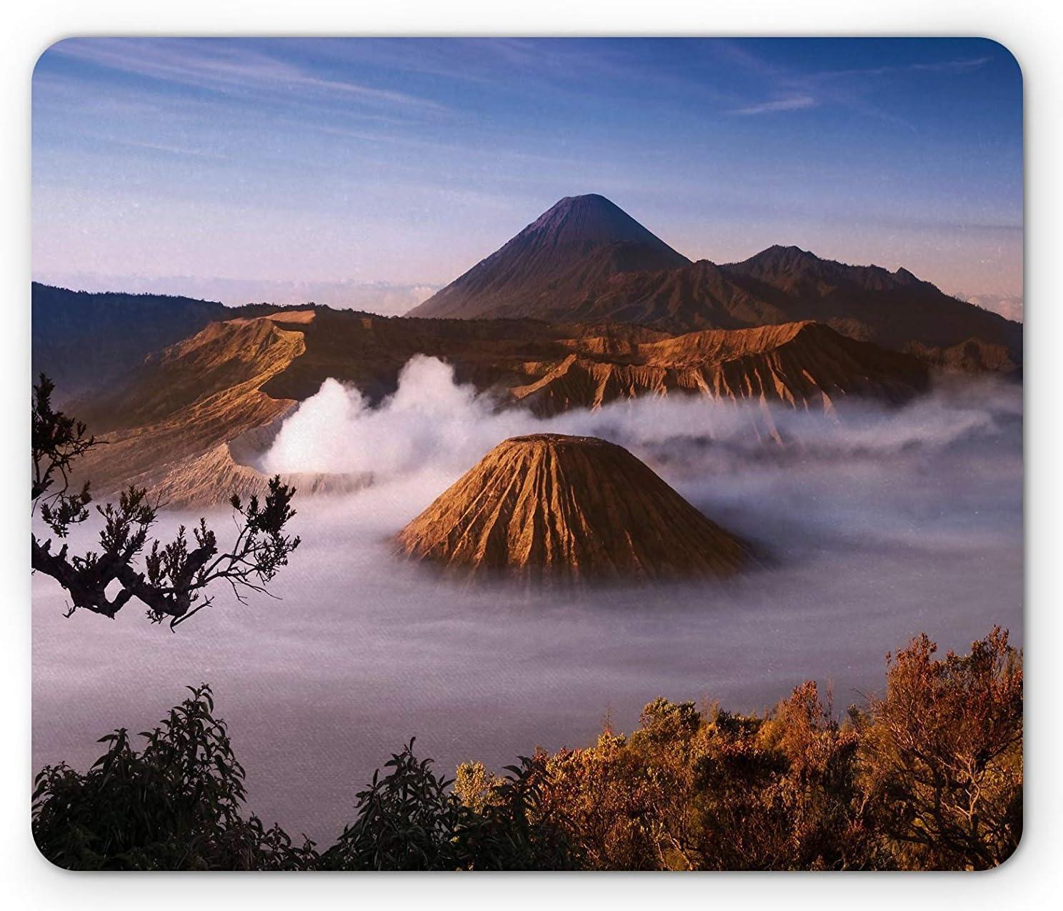 Volcano Mouse Pad, Mount Bromo Volcanoes Taken in Tengger Caldera East Java Indonesia, Standard Size Rectangle Non-Slip Rubber Mousepad, Light Caramel Blue White