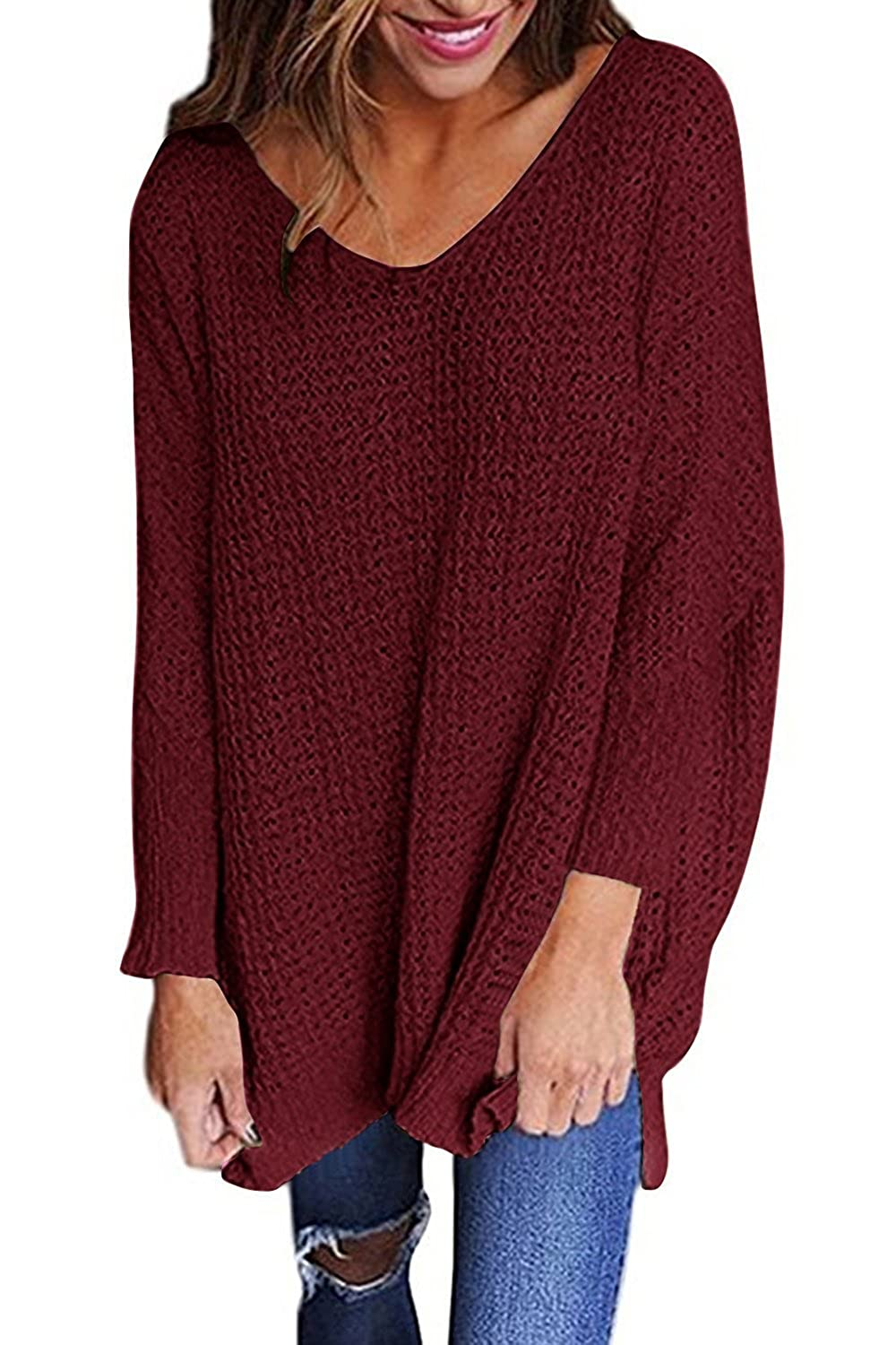 Mafulus Womens Oversized Sweaters Casual V Neck Long Sleeve Loose Knit  Pullover Tops at Amazon Women s Clothing store  f38109653