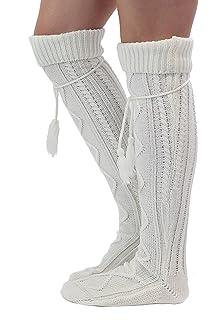 9feb7935d Amazon.com  Quelife Women Christmas Warm Thigh High Long Stockings ...