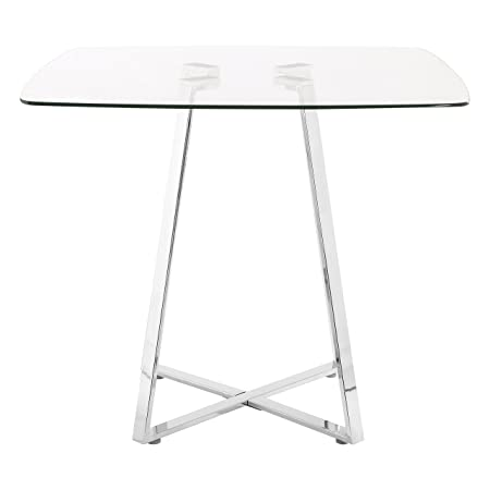 Premier Housewares Square Glass Dining Table, 76 X 90 X 90 Cm