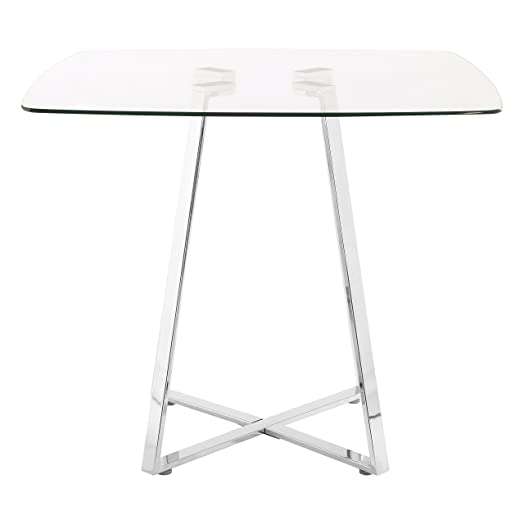 premier housewares square glass dining table 76 x 90 x 90 cm - Square Glass Dining Table