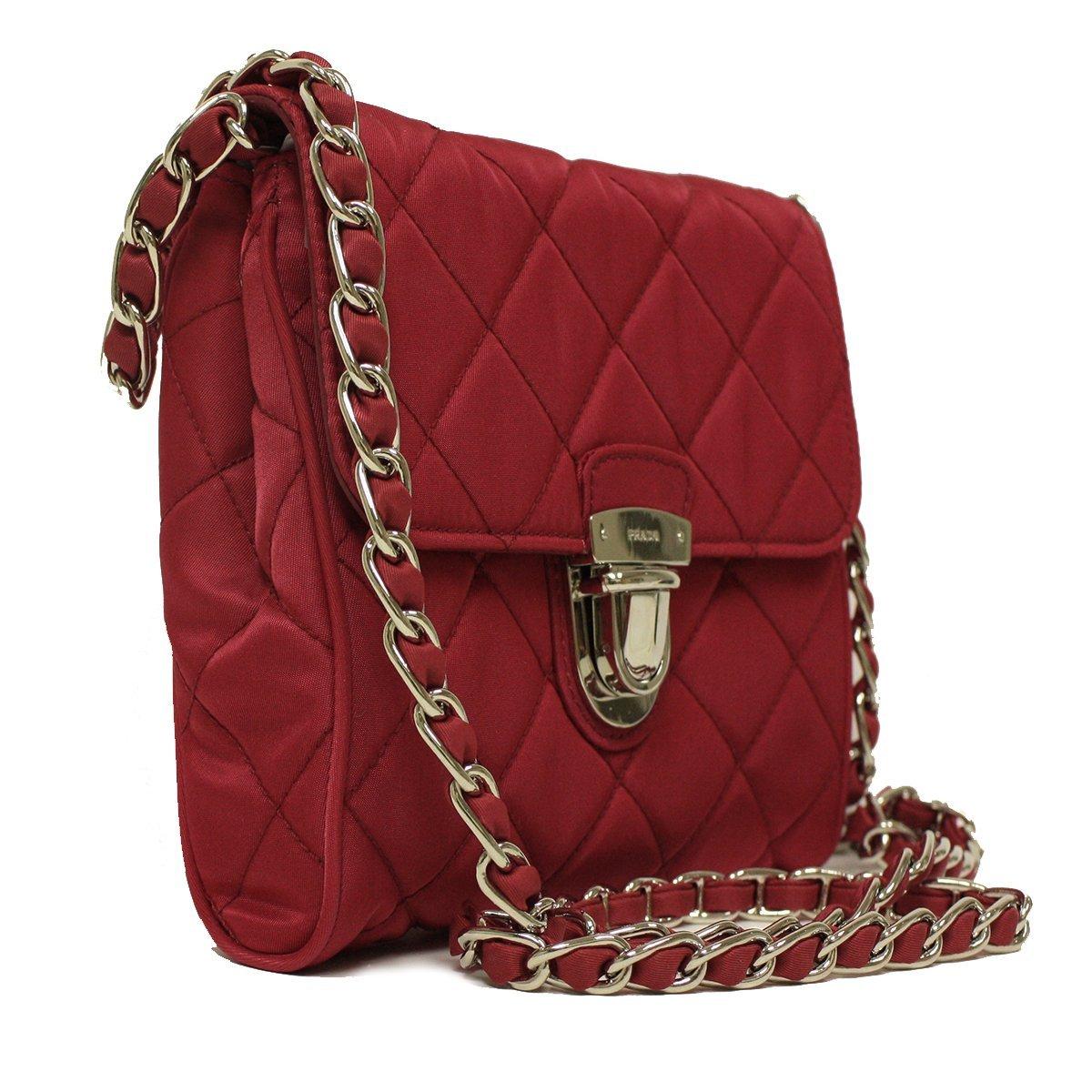 51ea87d64f5e6a Prada BP0623 Hot Pink Tessuto Impuntu Pattina Nylon and Leather Chain  Crossbody Bag: Amazon.ca: Shoes & Handbags