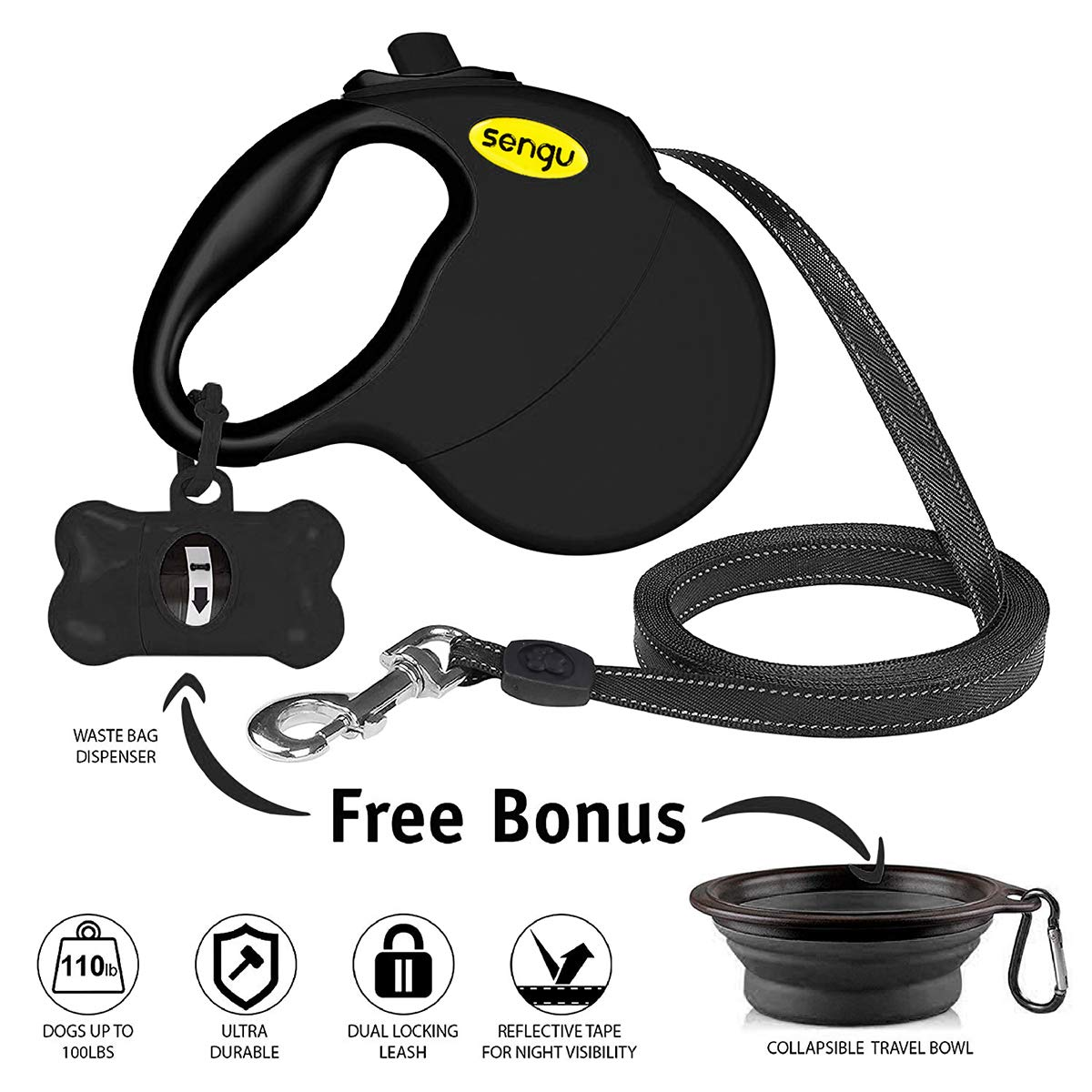 Retractable Dog Leash, 16 ft Nylon Dog Walking Leashes for Small Medium Large Dogs up to 110lbs, One Button Break & Lock, Tangle Free, Black with Bowl & Waste Bag