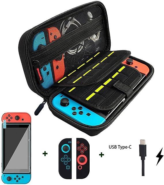 Wloomm Funda para Nintendo Switch Versión Mejorada Viaje rígida con Funda Switch+Funda Transparente+Protector de Pantalla+Cable de Carga USB Tipo C: Amazon.es: Videojuegos