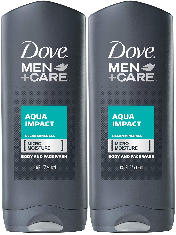 Dove Body & Face Wash Mens Aqua Impact, 13.5 Fl Oz, Pack of 2