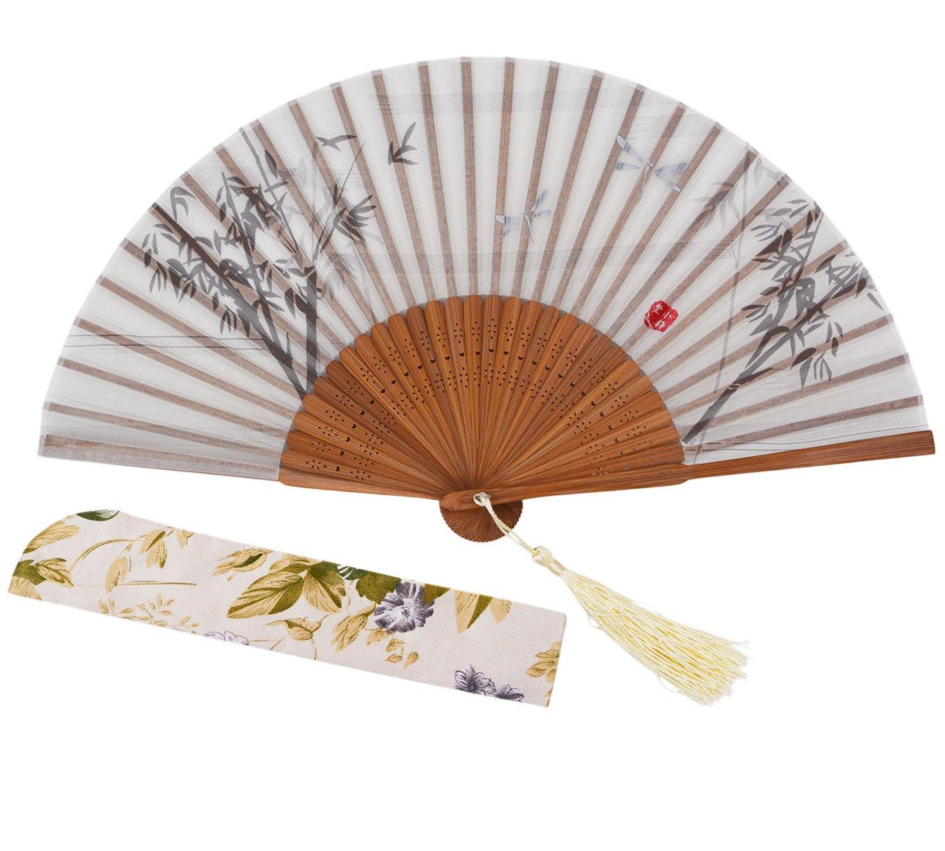 Meifan Chinese Vintage Retro Style Handheld Folding Fan (White)