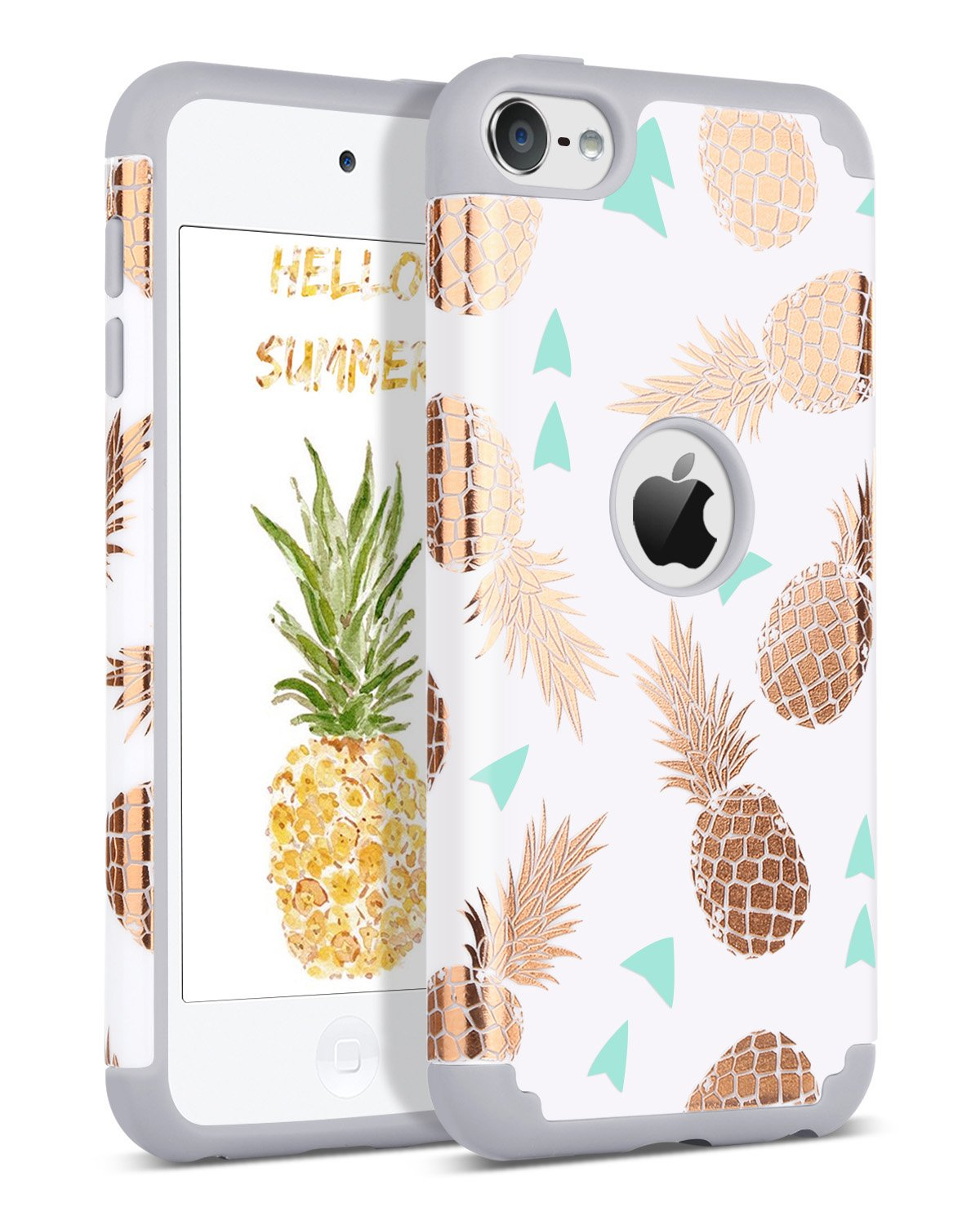 BENTOBEN iPod Touch 7 2019 Case, iPod Touch 6 Case, iPod Touch 5 Case, Hybrid Hard PC Cover Soft Silicone Bumper Pineapple Heavy Duty Protective Case ...