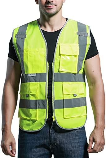 SFVest - Chaleco Reflectante de Seguridad de Hombre Trabajador para Bicicleta Moto Marcha Deportes Nocturna con Multi Bolsollos - Amarillo Naranja: Amazon.es: Ropa y accesorios
