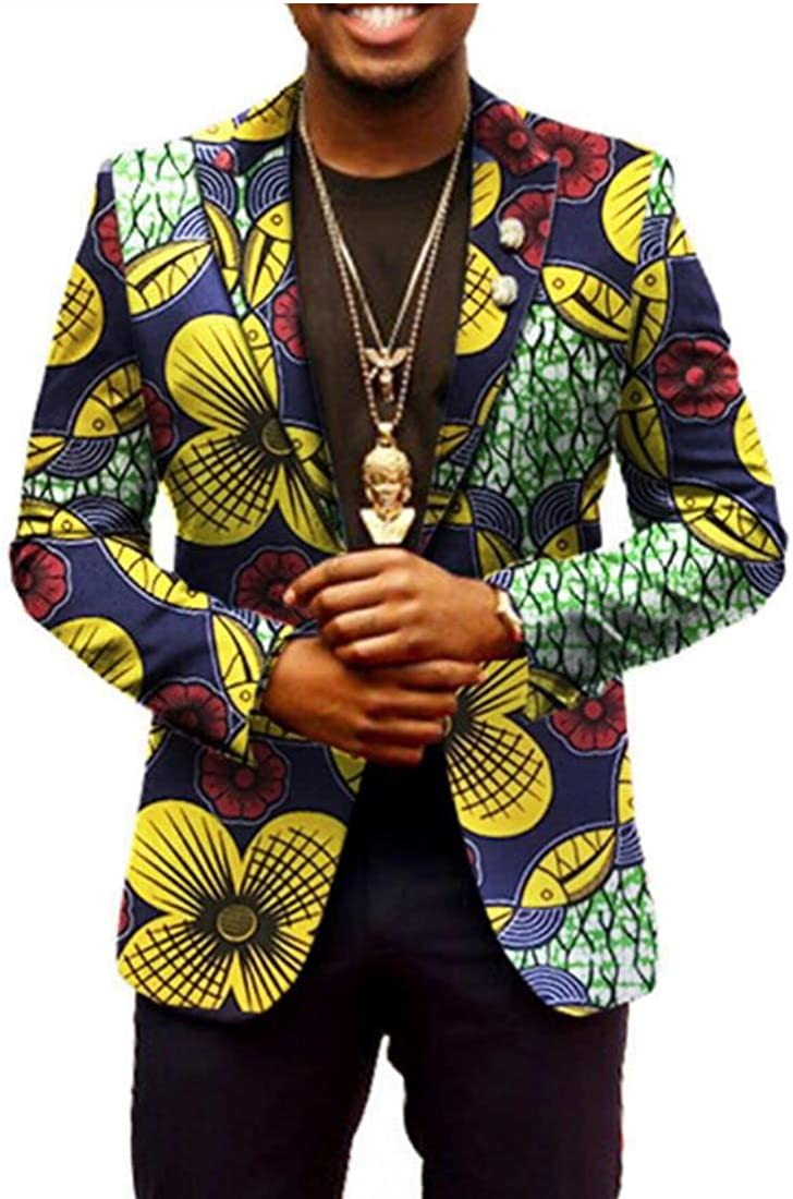 WSPLYSPJY Mens Long Sleeve African Ethnic Style Print Suit Blazers for Men 17 L