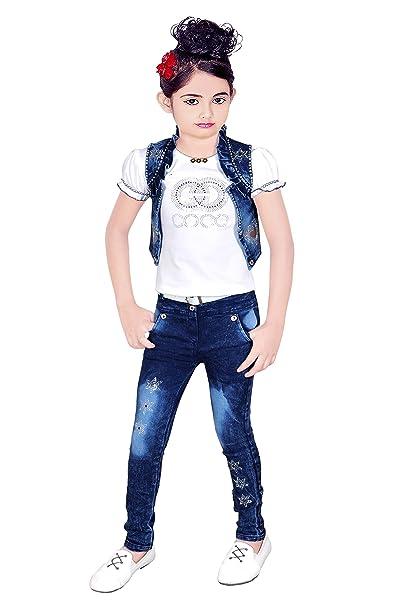 Aayat Fashion Girl\u0027s Jeans Denim Pant with T,Shirt and Jacket