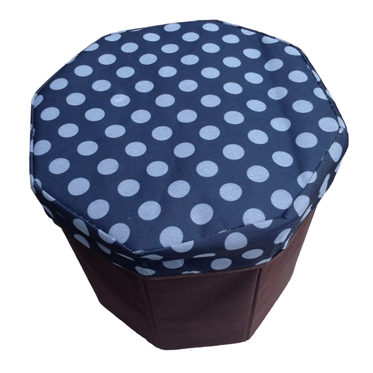 Daidu Non-Woven Fabric Foldable Storage Organizer Bin Box Ottoman Stool 9.8 x 9.8 x 9.8 inches for Student Kid Pupil Bedroom Dorm Desk,Blue
