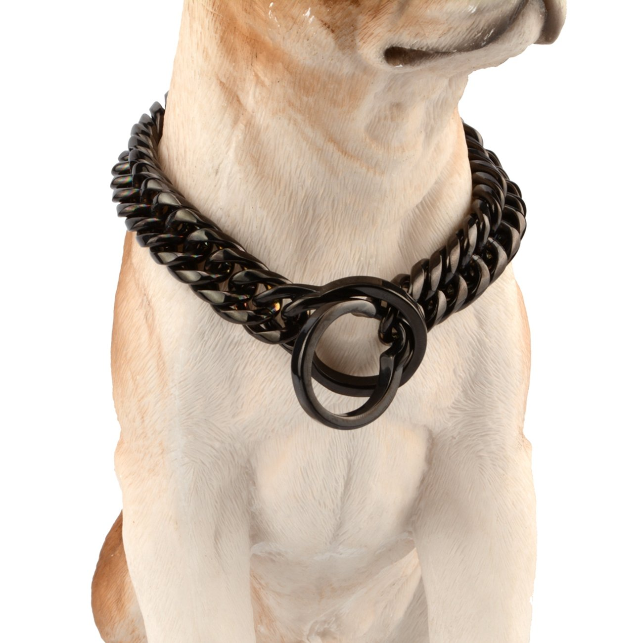 14inch recommend dog's neck 10inch Innovative jewelry 16mm Black Solid Stainless Steel Pet Dog Choke Curb Chain Collar Bulldog,Pit Bull, Mastiff, Big Breeds 14-34 (14 )