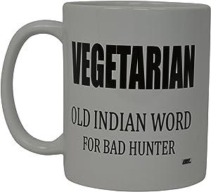 Best Funny Coffee Mug Vegetarian Bad Hunter Novelty Cup Joke Great Gag Gift Idea For Men Women Office Work Adult Humor