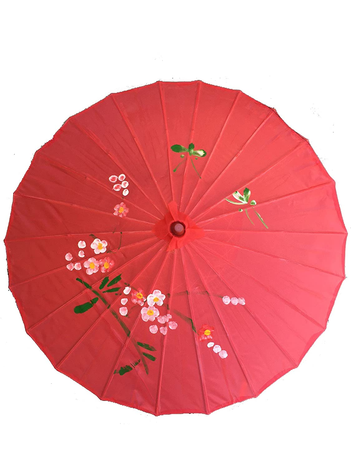 32 Chinese Japanese Red Fabric Umbrella Parasol USA Seller