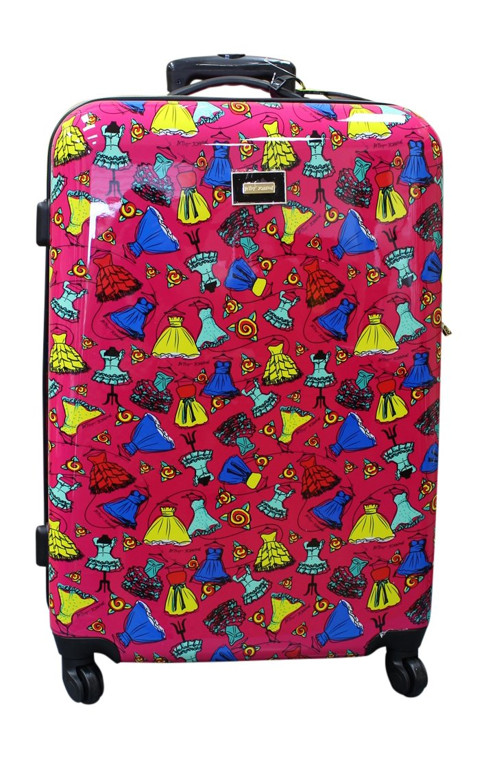 Betsey Johnson Belle of the Ball Hardside Suitcase 28 Inch, Fuchsia