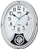 リズム時計 掛け時計 電波 アナログ 振り子 スモールワールドリリィ 6曲 メロディ クリスタル 飾り付き 白 Small World 4MN528RH03