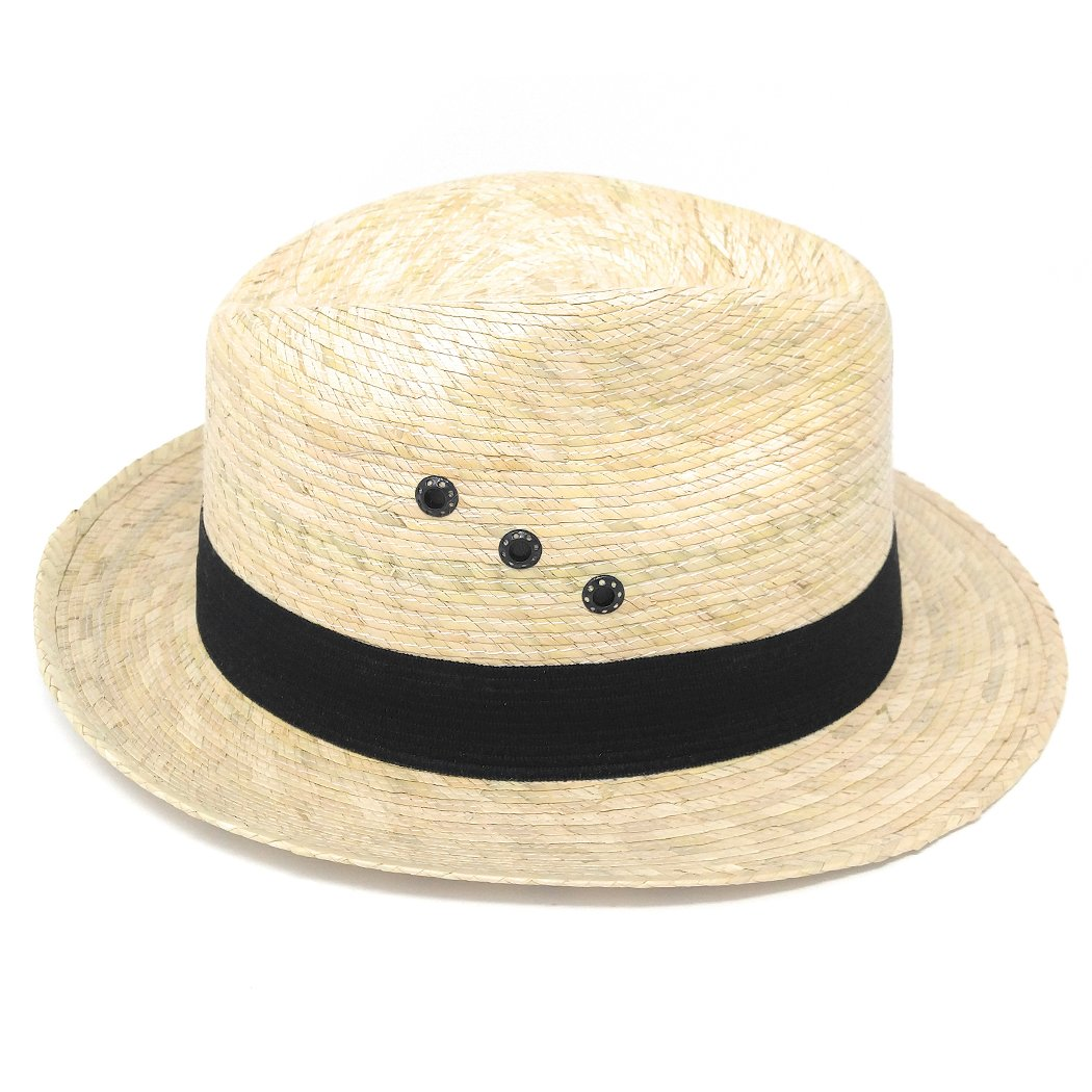 Black Hatband w//Grommets Mexican Palm Leaf Straw Wide Brim Fedora Hat