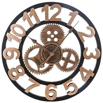 iVansa Reloj de Pared Vintage, 40cm Reloj de Pared Silencioso de Hierro, Reloj de Pared Vintage Decorativo para Cocinas, Dormitorios, Oficinas, ...
