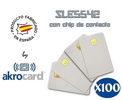 Pack 100 - Tarjeta pvc BLANCA con chip de contacto memoria ...