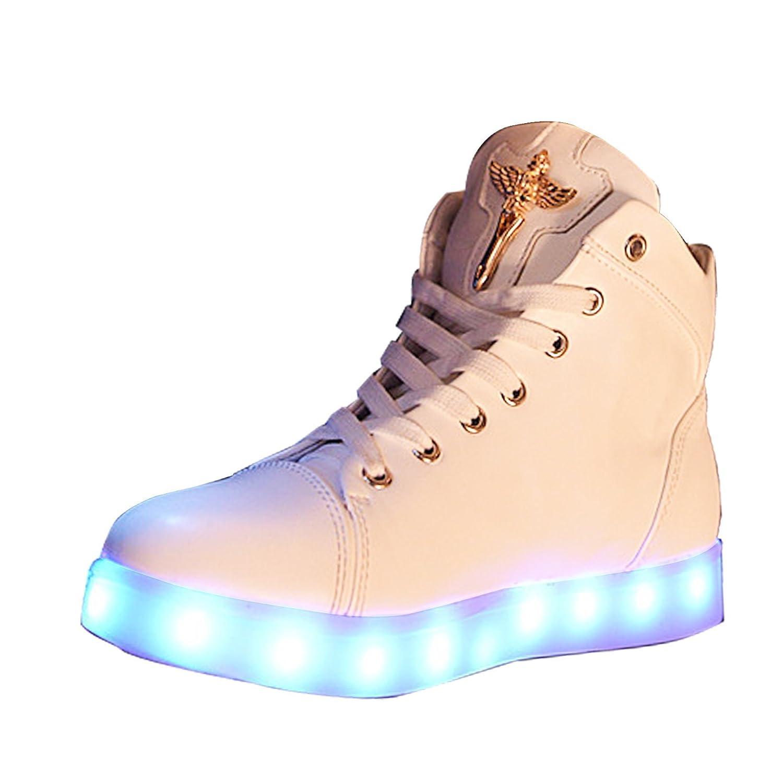 Gaorui New Women LED Light Luminous Sneaker High Top Lovers Athletic Shoes USB Charge B017OYZ46Y 6 B(M) US|White