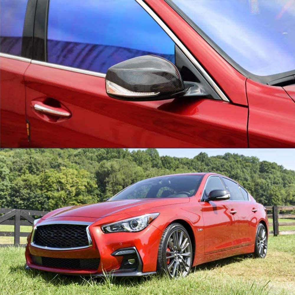 JC SPORTLINE Carbon Fiber Mirror Cover fits for 2013-2019 Infiniti Q50 Q50S Q60 Q60 RS Side Mirror Cap Covers Replacement Style