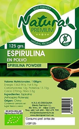 Natura Premium Espirulina En Polvo Bio - 125 gr ECOLOGICO