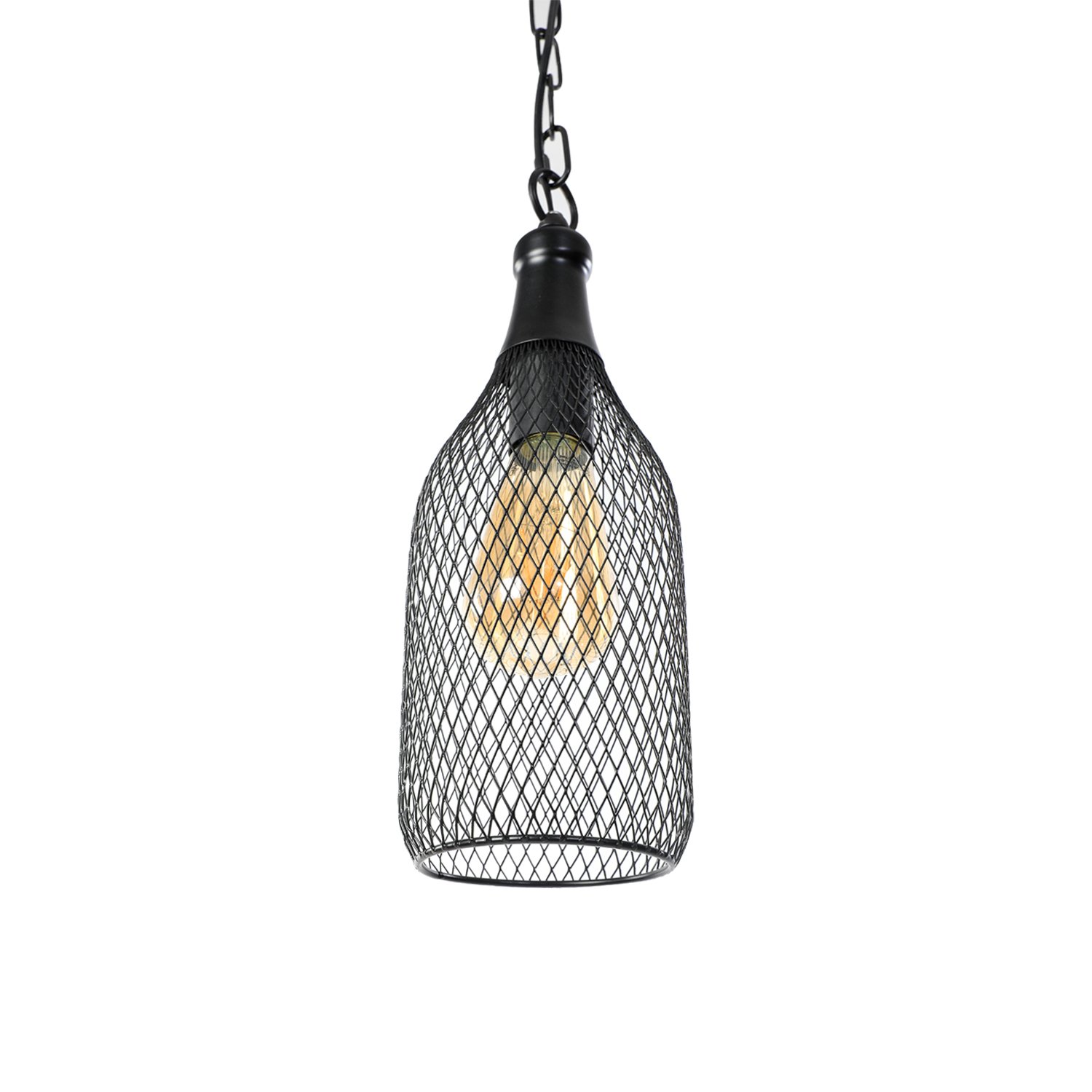 Lit path pendant light hanging lantern lighting fixture for kitchen and dining room e26 e27 medium base metal construction with black finish