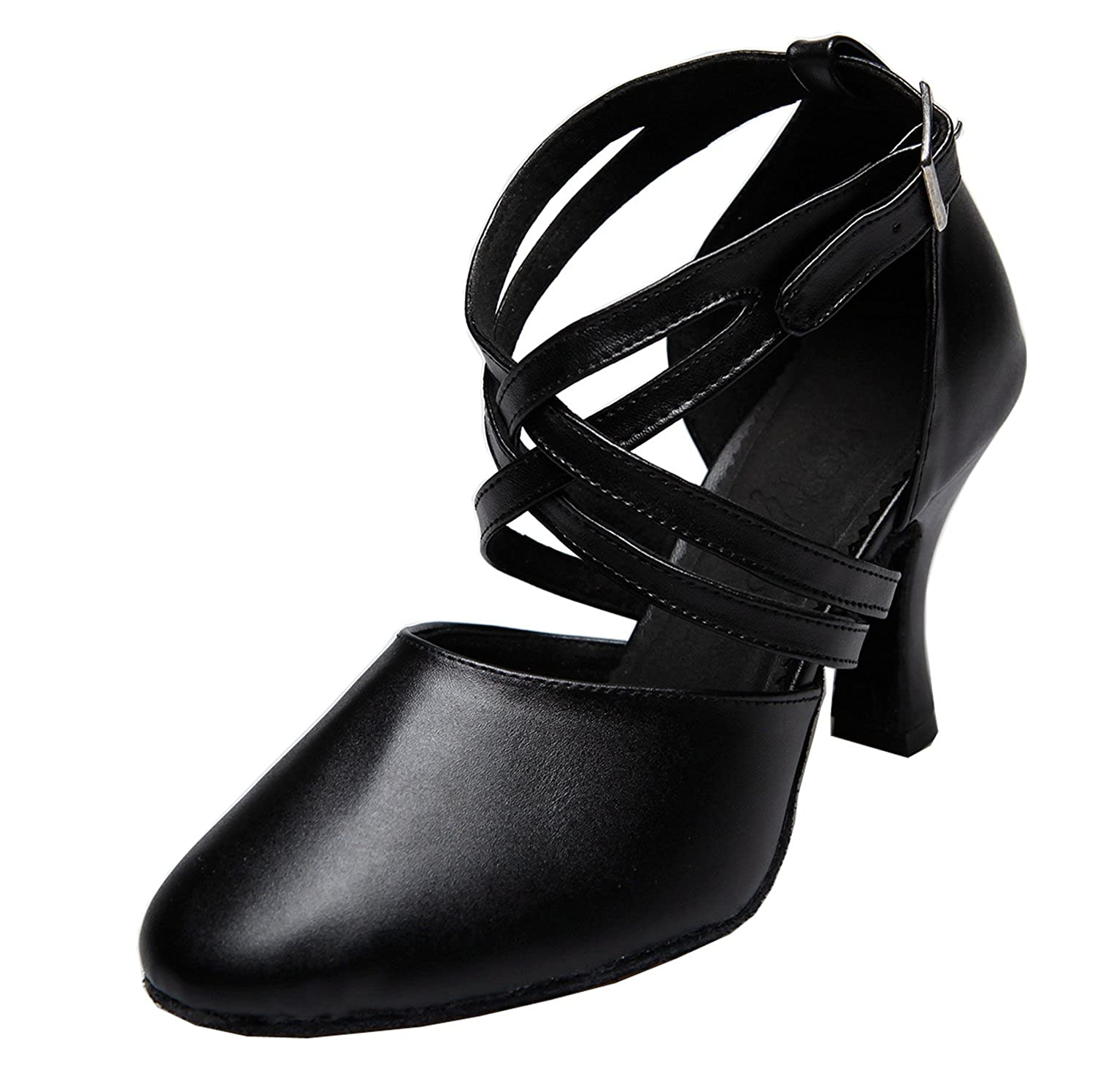 673a1517dcf081 MINITOO QJ807 Womens Ankle Strap Leather Salsa Tango Ballroom Latin Party Wedding  Dance Pumps  Amazon.co.uk  Shoes   Bags