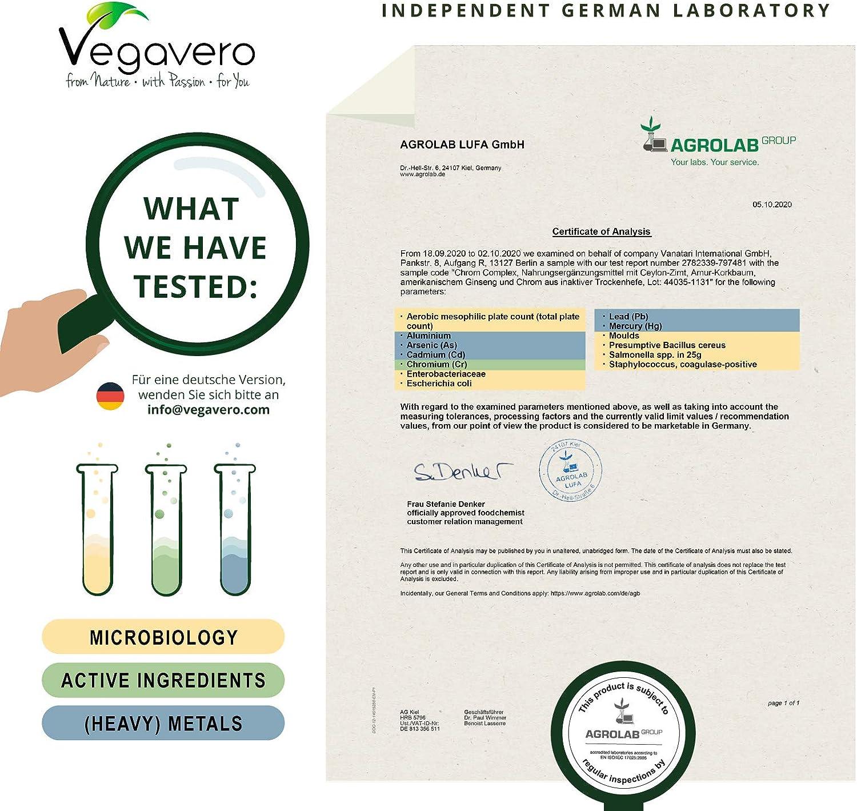 Suplemento Cromo Complex Vegavero® | 100% Vegetal | Control de Azúcar en Sangre* + Insulina | Con Canela de Ceylán + Ginseng Americano + Berberina | ...