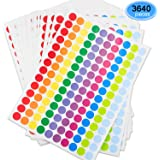 EAONE 3780Pcs Dot Labels, Self Adhesive Labels Round Color Coding Labels Removable Dot Circle Stickers Neon Colored Labels (27 Sheets, 10 Colors)