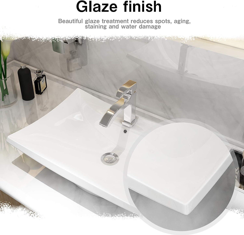 24 X 14 Rectangle Bathroom Sink White Porcelain Ceramic Bathroom Vessel Vanity Sink Mecor White Vessel Sink Kitchen Bath Fixtures Bathroom Sinks Web Art Co Il