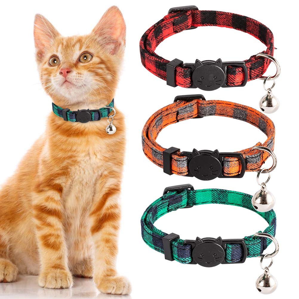PUPTECK Cat Collar with Bell – 3 Pack Plaid Breakaway Cat Collar Set, Adjustable Safety Puppy Collars,Orange Red Green