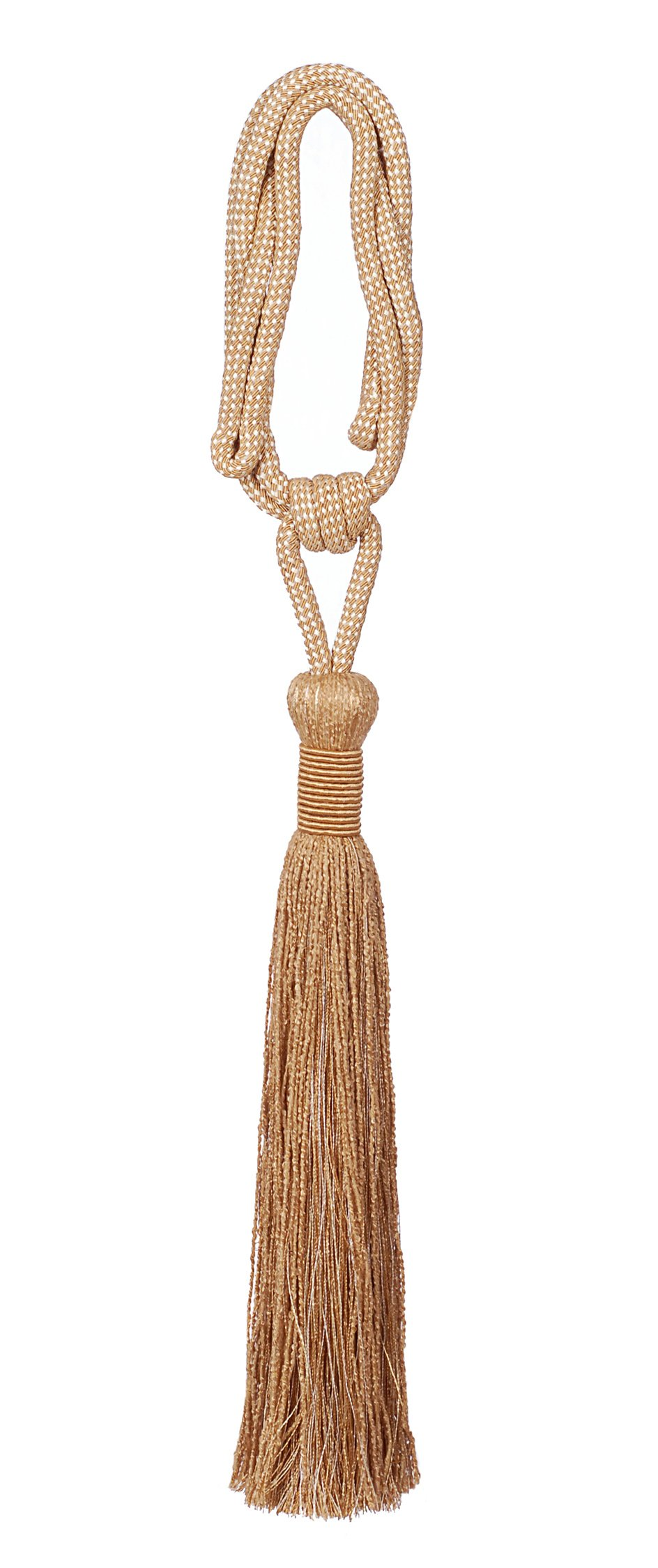 India House 79966 Vedi Tieback with 15-Inch Single Tassel and 30-Inch Cord, Gold