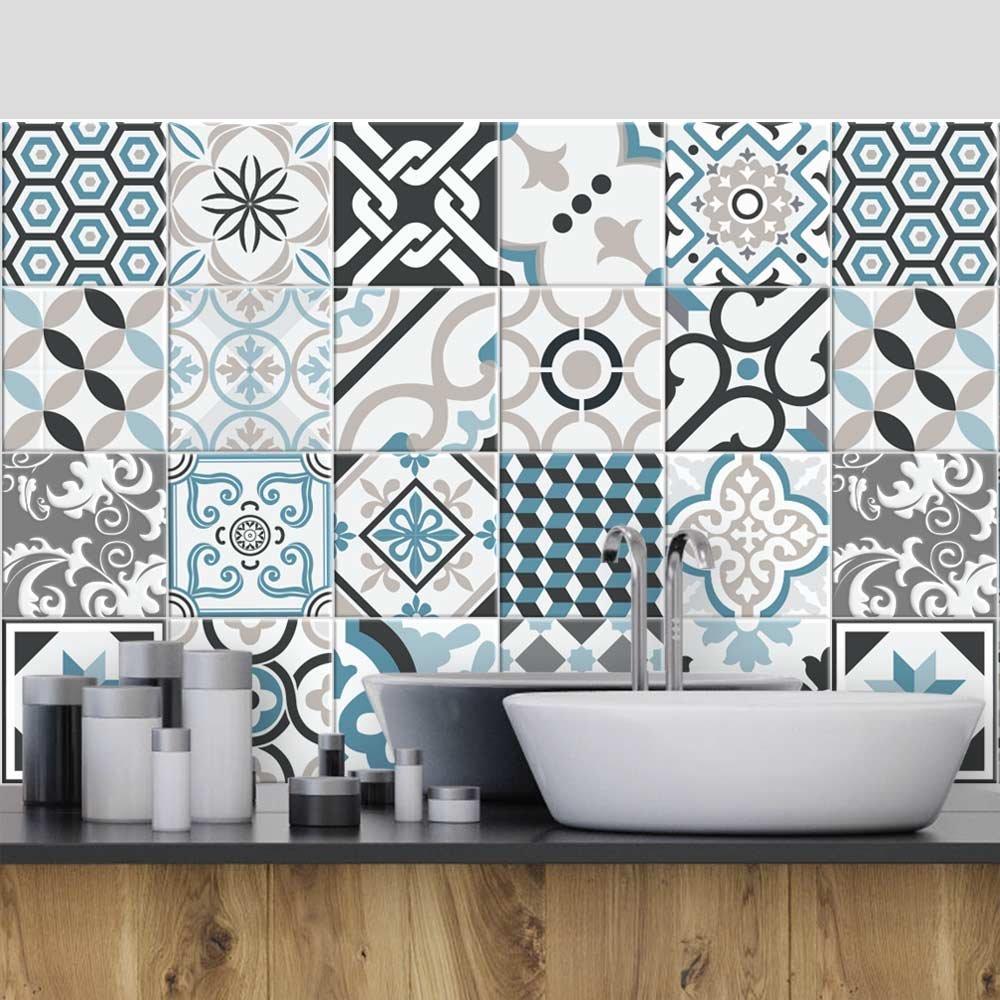 wall art (Confezione 36 Pezzi) Adesivi per Piastrelle Formato 10x10 cm - Made in Italy - PS00054 Adesivi in PVC per Piastrelle per Bagno e Cucina Stickers Design - Oslo
