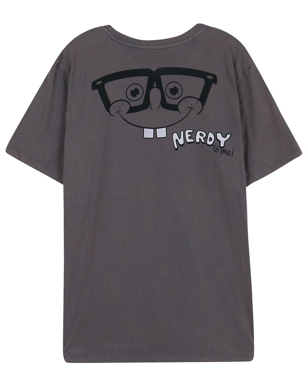 ililily Washed Cotton Spongebob Squarepants/& Nerdy Graphic Print T-Shirts Top tshirts-279-1-M