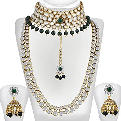 Buy Spargz Gold Plated Green White Kundan Pearl Haram   Choker Necklace Set  Bridal Jewellery Set For Women AINS 254 Online at Low Prices in India  cc3fe5ff1c25